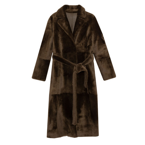 Brown Belted Shearling Coat, ${color}