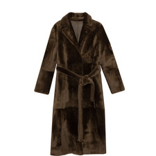 Brown Belted Shearling Coat