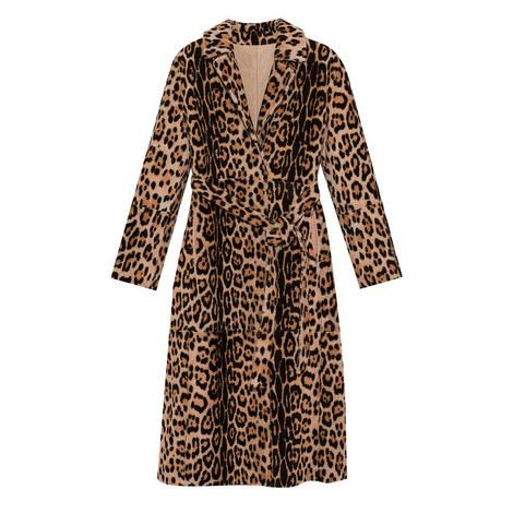 Reversible Leopard Print Faux Fur Coat, ${color}
