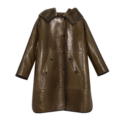 Patent Leather Hooded Coat, ${color}