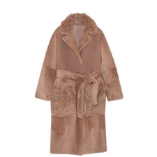 Reversible Mix Texture Shearling Coat