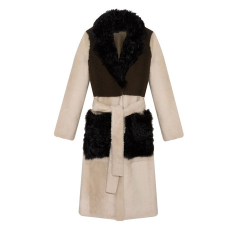 Reversible Tri-Colour Shearling Trench Coat, ${color}