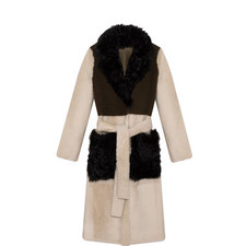 Reversible Tri-Colour Shearling Trench Coat