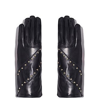 Diagonal Stud Silk-Lined Leather Gloves