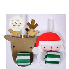Santa and Reindeer Party Blowers