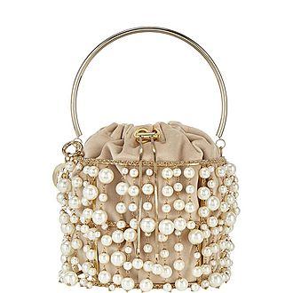 Rea Pearl-Embellished Bucket Bag