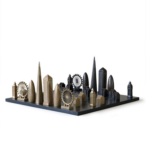 Luxury London Edition Solid Bronze Chess Set, ${color}