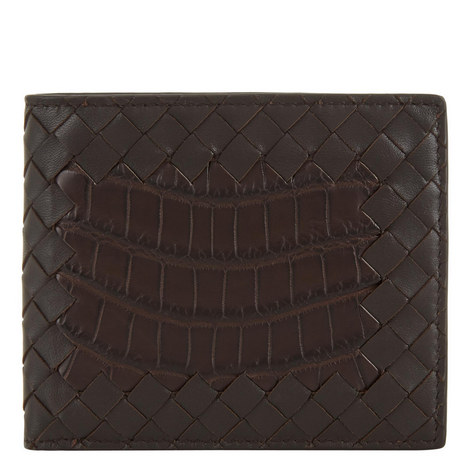 Croc Leather Bi-Fold Wallet, ${color}
