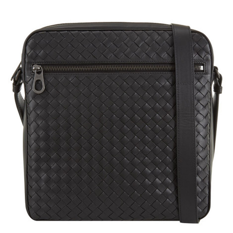 Intrecciato Zip Messenger Bag Small, ${color}