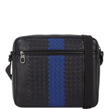 Intrecciato Striped Leather Messenger Bag