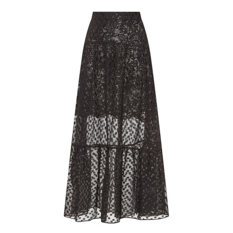Lurex Chiffon Midi Skirt, ${color}