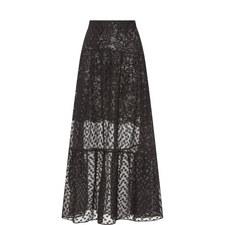 Lurex Chiffon Midi Skirt