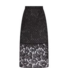 Paisley Appliqué Midi Skirt