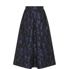 Brocade A-Line Midi Skirt