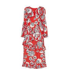 Peony Print Pleated Dress