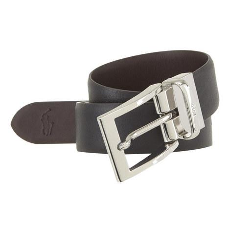 Embossed Logo Leather Belt, ${color}