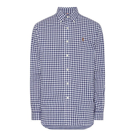 Gingham Cotton Oxford Shirt, ${color}