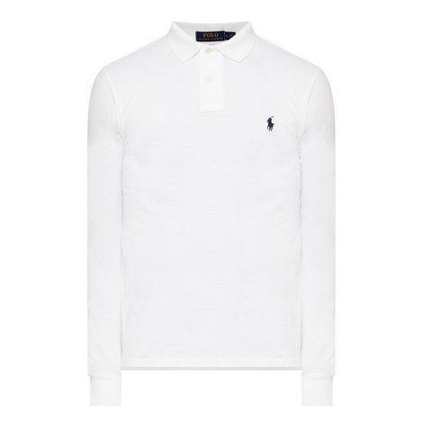 Long Sleeve Slim Fit Polo Shirt, ${color}