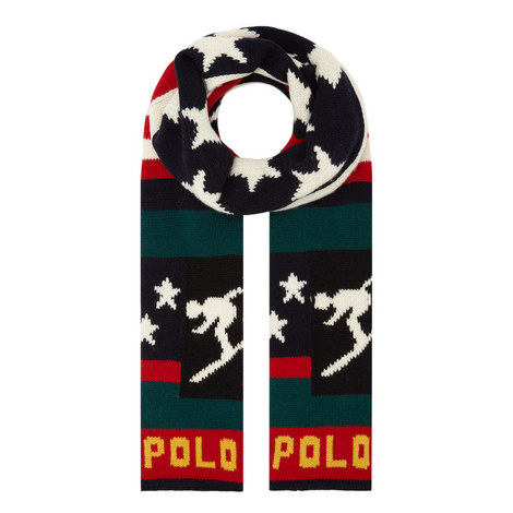 Flag & Ski Motif Scarf, ${color}