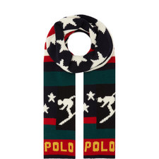 Flag & Ski Motif Scarf