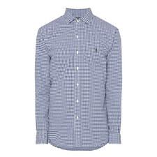 Gingham Slim Fit Cotton Oxford Shirt