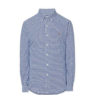 Gingham Slim Fit Cotton Oxford Shirt