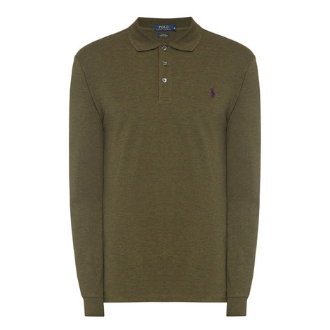 Long Sleeved Stretch Polo Shirt, ${color}