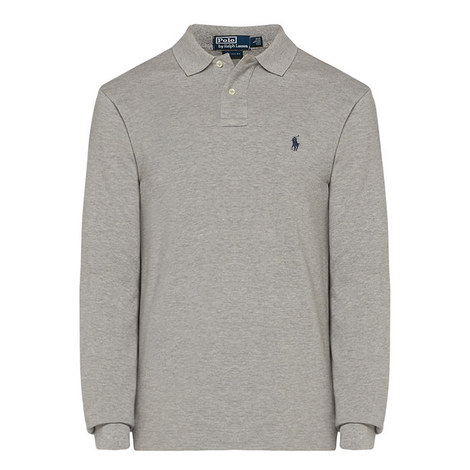 Long Sleeve Cotton Piqué Polo Shirt, ${color}
