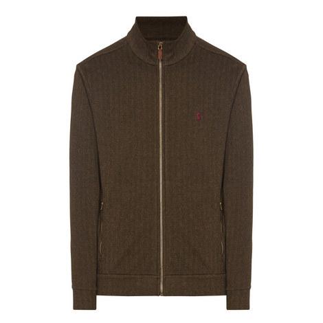 Herringbone Full-Zip Knitted Cardigan, ${color}