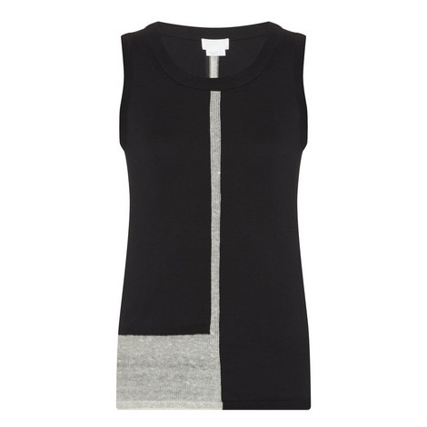 Contrast Panel Knit Sleeveless Sweater, ${color}