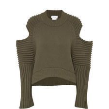 Textured Cold Shoulder Sweater