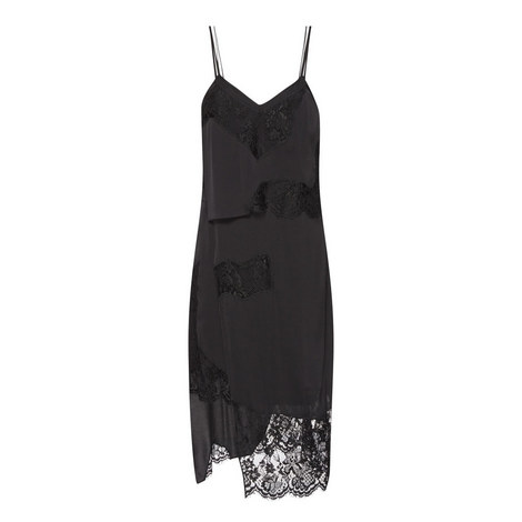 Layered Lace Silk Slip Dress, ${color}
