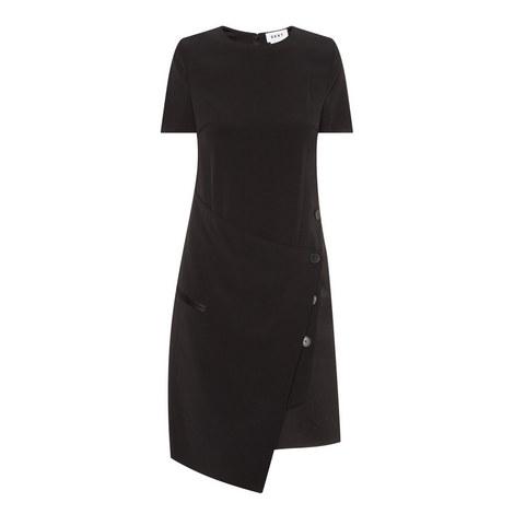 Buttoned Drape Front Dress, ${color}