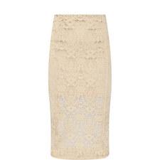 Velvet Lace Midi Skirt