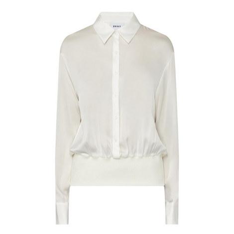 Ribbed Hem Satin Shirt, ${color}