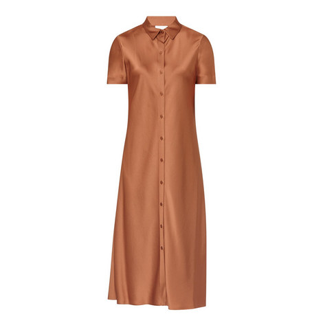 Satin Shirt Dress, ${color}