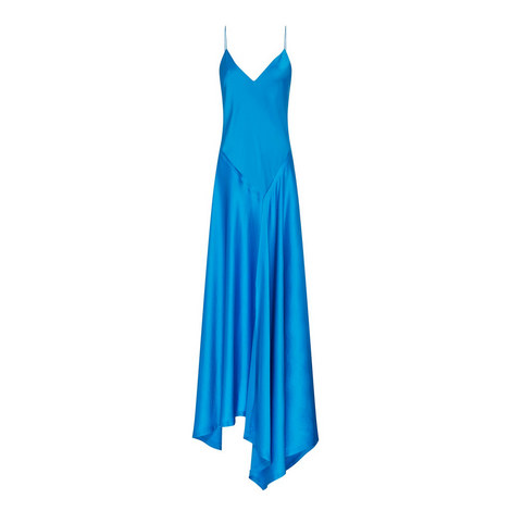 V-Neck Satin Dress, ${color}