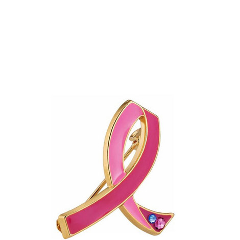 Breast Cancer Awareness Commemorative 25th Anniversary Pink Ribbon Pin, ${color}