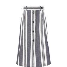 Abituro Stripe Buttoned Midi Skirt