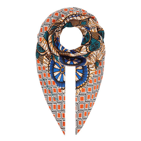 Alare Patterned Silk Scarf, ${color}