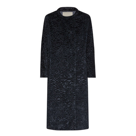 Astraka Collarless Textured Coat, ${color}