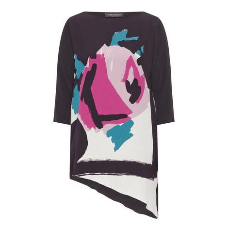 Bacio Print Silk Top, ${color}