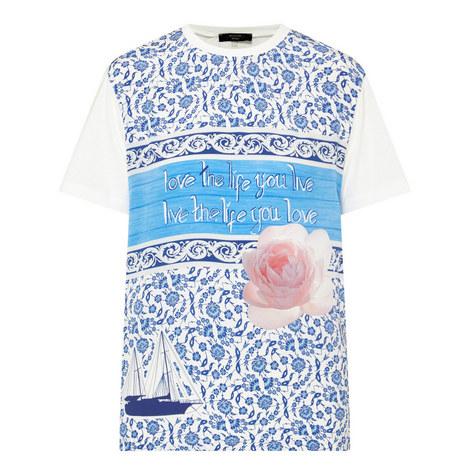 Barocco Aegean Peony Print T-Shirt , ${color}