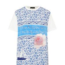 Barocco Aegean Peony Print T-Shirt