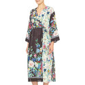 Smalto Floral Long Sleeve Silk Dress, ${color}