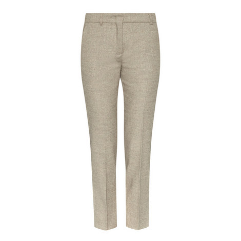 Bu Herringbone Cropped Trousers, ${color}