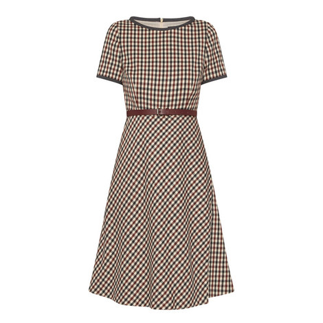 Charlot Fit-and-Flare Checked Wool Dress, ${color}