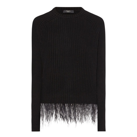 Chicca Feather-Trimmed Sweater, ${color}
