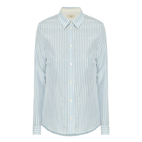 Cles Stripe Silk Shirt, ${color}