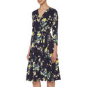 Floral Print Wrap Dress , ${color}